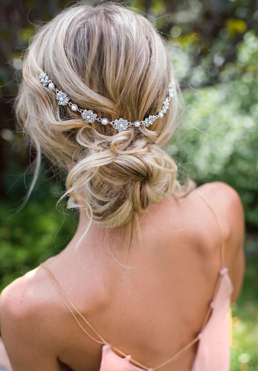 Hochzeit - Vintage Style Bridal Hair Chain Comb, Hair Wrap, Grecian Headpiece, Draped Hair Comb, Floral Wedding Hair Comb, Hair Wreath - 'HELENA'