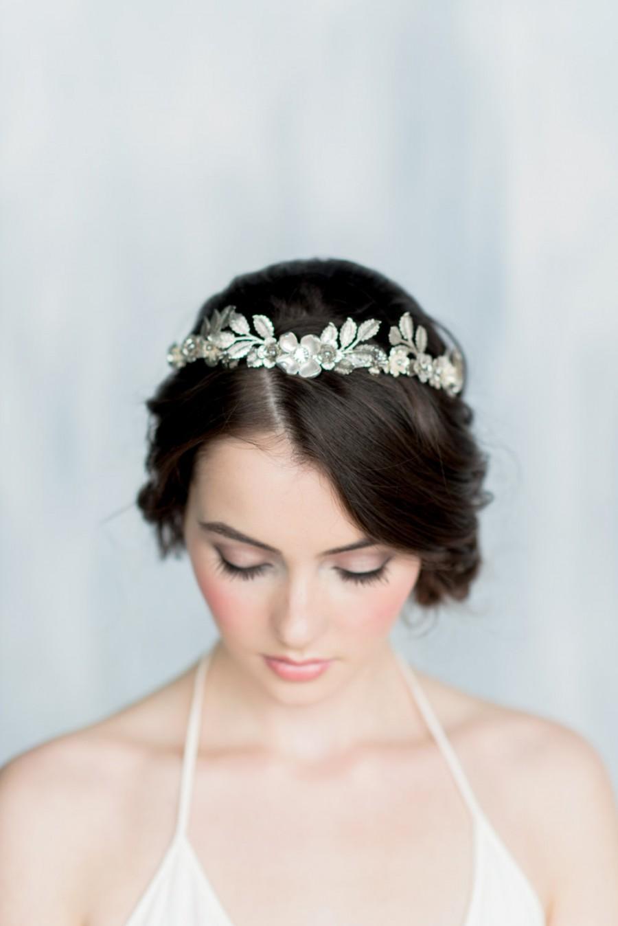 Wedding - Silver Leaf Crown, Gold Leaf Headband, Gold Flower Crown, Leaf Headpiece, Silver Hairband, Modern Crown, Gold Leaf Crown, Leaf Tiara, HELENA