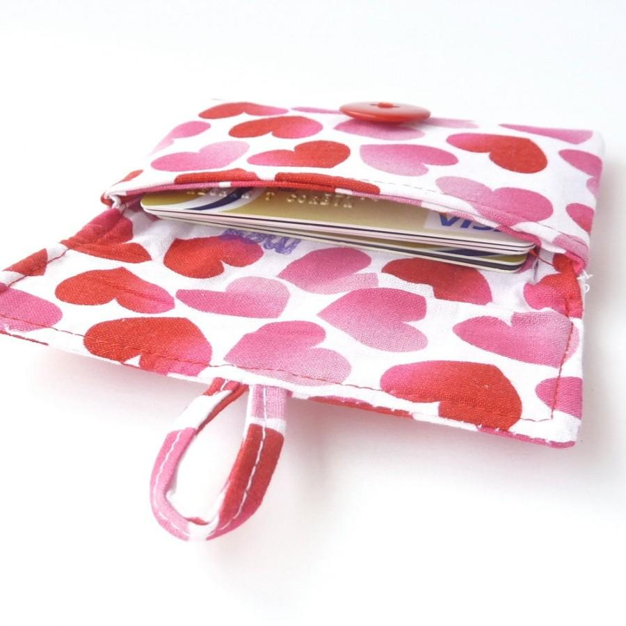 Valentines Day Gift. Cute Credit Card Pouch. Pink Red Hearts Teen ...