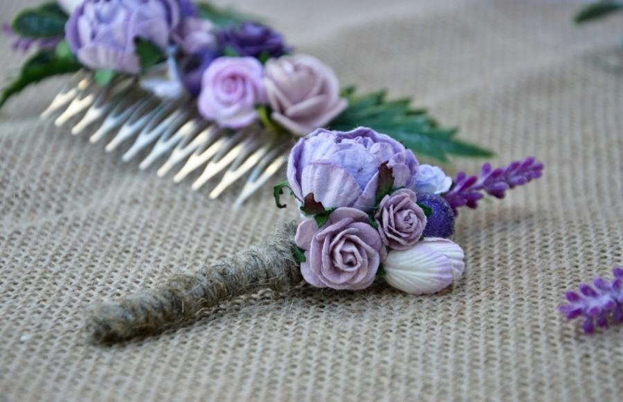 Boda - Wedding boutonniere, Lavander wedding, groomsmen button hole, Woodland rustic boutonniere.