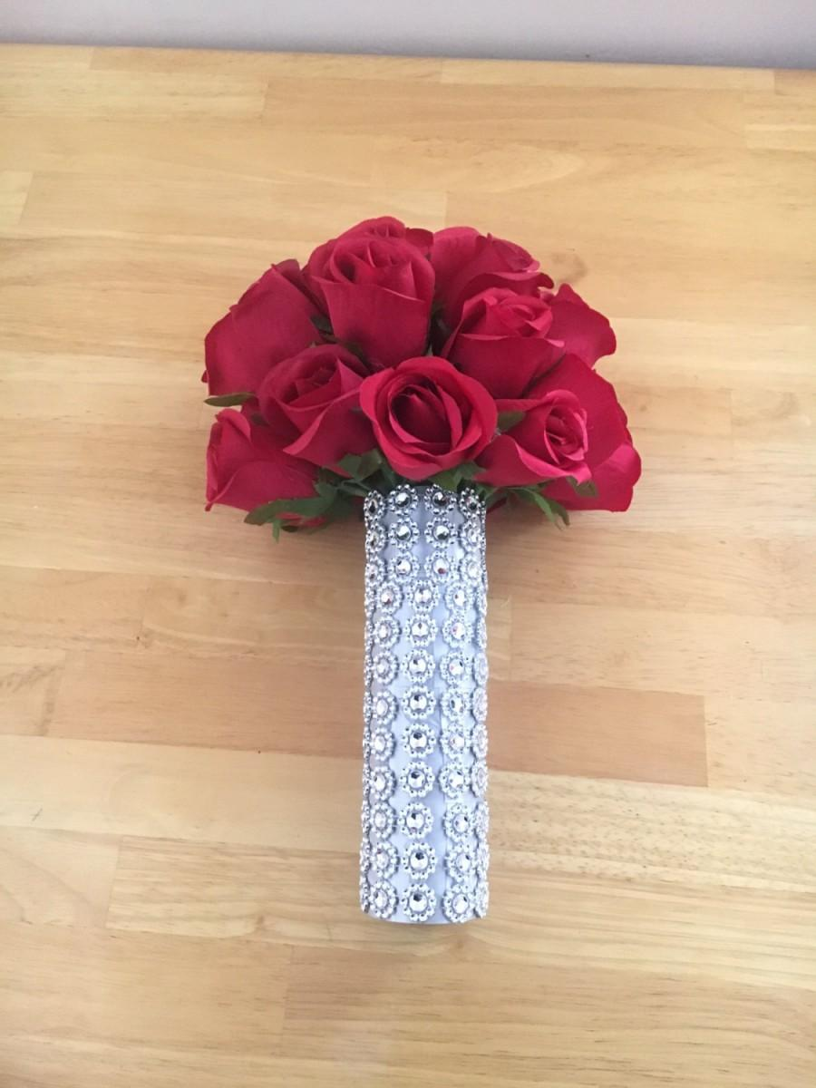 Mariage - Red Silk Real Touch Roses Wedding Bouquet with Crystal Diamante Brooch Gems - Bridesmaid Bridal Bouquet