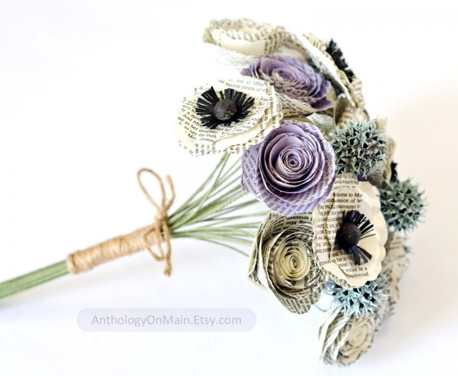 Свадьба - Bridesmaid or Small Bridal Bouquet made from Books with Roses, Poppies, Sweetgum - IN YOUR COLORS - Book Page Wedding Flowers