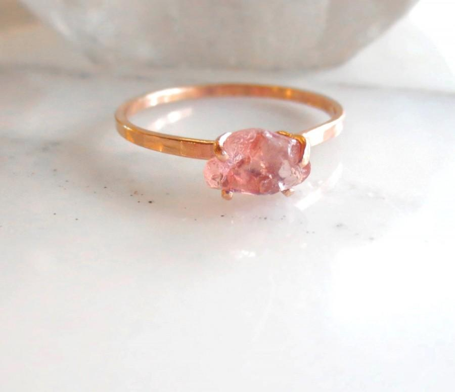 Mariage - Natural Pink Peach Sapphire Ring, Raw Sapphire Ring, Alternative Stone Engagement Ring, Choose Your Own Stone, 14k Gold Ring Made To Order