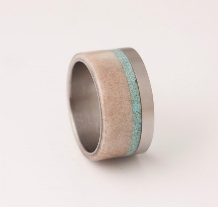 Mariage - Antler ring turquoise ring titanium wedding ring