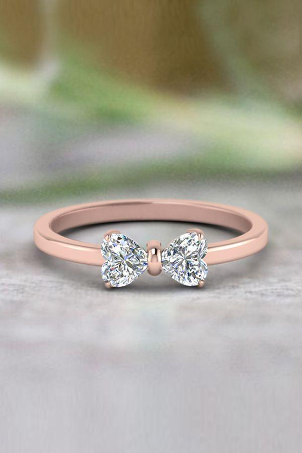 Mariage - 2 Heart Shaped Bow Diamond Ring