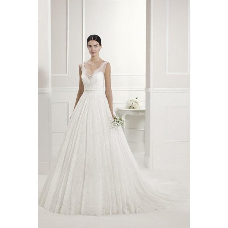 Wedding - Style Filigrana by Alma Novia - Lace Ballgown Sleeveless Floor length V-neck Chapel Length Dress - 2017 Unique Wedding Shop