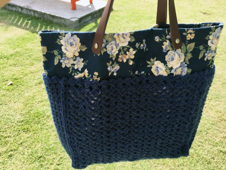 Wedding - Crochet Leather Bag,Personalized gift, bridesmaid gift, Shoulder bag ,Floral bag,Spring,Summer,Red tote,Healthy,Vintage,Boho,Garden party