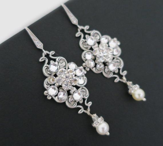Bridal Earrings Vintage Wedding Earrings Chandelier Pearl Dangle