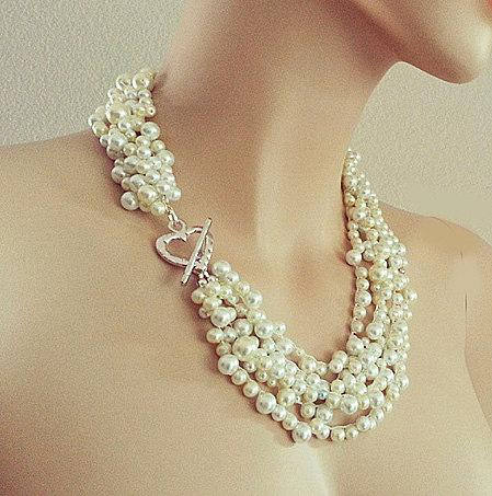 "Mariage - Pearl Statement Necklace, Chunky Bridal Necklace Pearl, Wedding Pearl Necklace with Blue, Pearl Jewelry, 20"" Necklace, Silver Heart, DOREN"