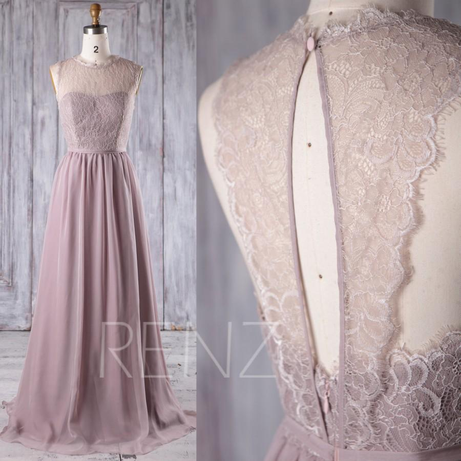 Wedding - 2017 Rose Gray Chiffon Lace Bridesmaid Dress, Key Hole Back Wedding Dress, A Line Prom Dress, Long Maxi Dress Floor Length (L229)