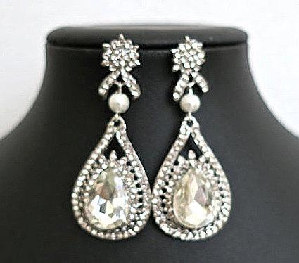 Bridal Drop Earrings Pearl Crystal Earrings Wedding Earrings