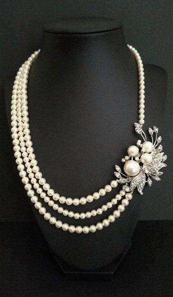 Hochzeit - Bridal Necklace, Swarovski Pearl Necklace, Wedding Jewelry Art Deco, Bridal Pearl Necklace, Wedding Statement Necklace, Bridal Statement
