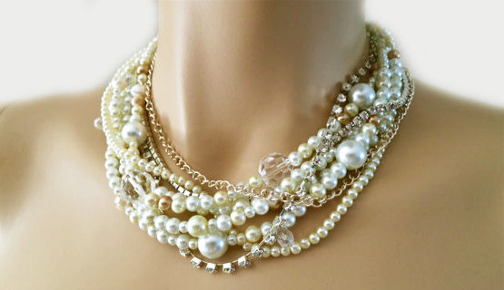 Mariage - Bridal Pearl Necklace, Pearl Wedding Necklace, Pearl Choker Necklace, Bridal Necklace Statement, Chunky, Cream, Champagne , Crystal, Bride