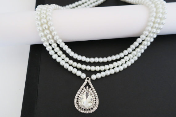 Wedding - Bridal Statement Necklace, Wedding Pearl Necklace, Pearl Statement Necklace, Bridal Jewelry Vintage, Crystal Drop Necklace, Swarovski,CORA