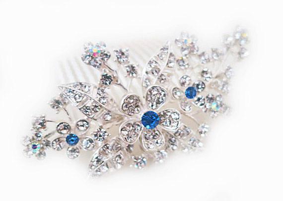Wedding - Bridal Crystal Hair Comb Something Blue Rhinestone Floral Wedding Comb Flower Bouquet Bridal Comb, DAISY