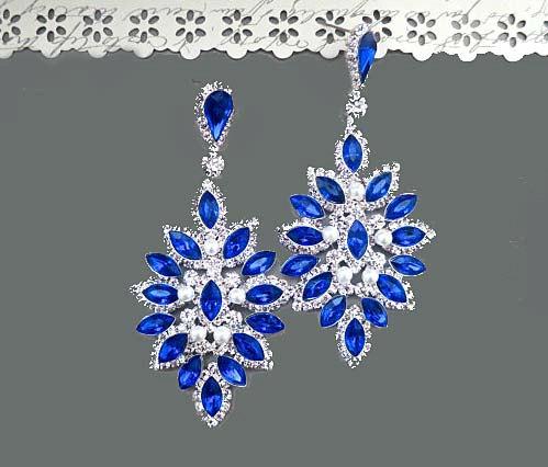 Hochzeit - Sapphire Blue Wedding Earrings, Large Blue Bridal Earrings, Blue Rhinestone Earrings, Royal blue Crystal Earrings
