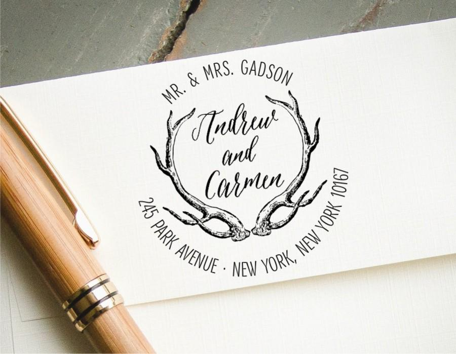 Round SelfInking Return Address Stamp Personalized Antlers – How to Address Wedding Save the Dates