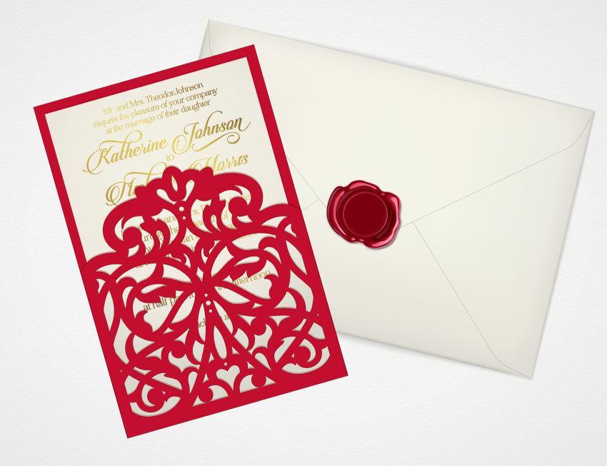 digital printable template pocket envelope for wedding invitation