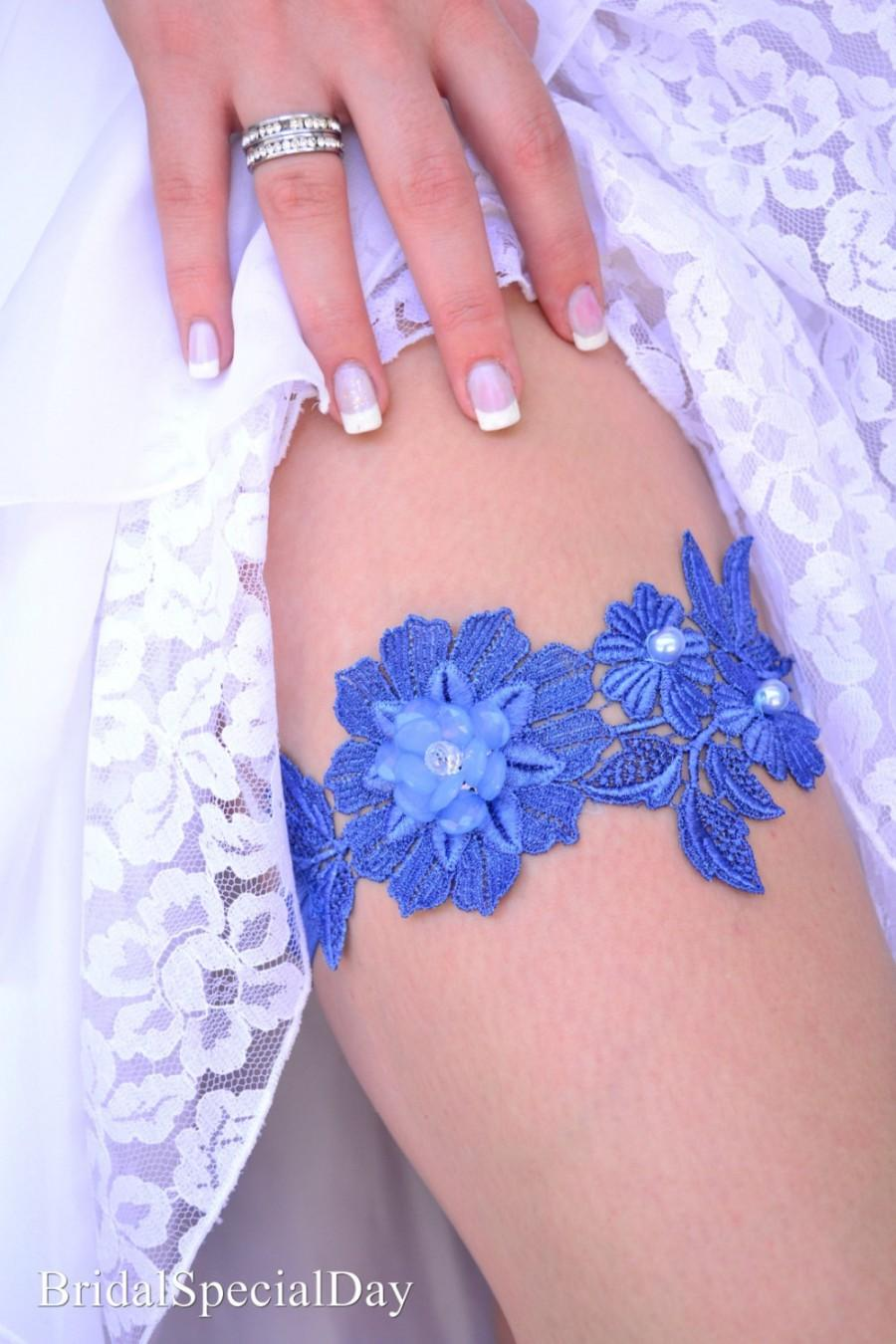 Mariage - Blue Wedding Garter, Wedding Garter Set, Something Blue, Handmade Garters, Lace Bridal Garter,Blue Garter Set, Lingerie Garter, Prom Garter