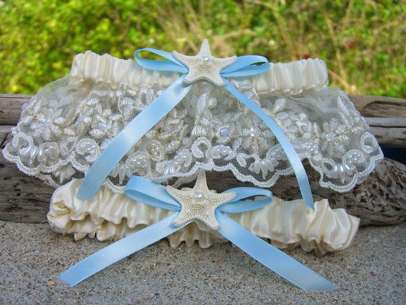 Mariage - Beach Wedding Starfish Garter Set-SOMETHING OCEAN BLUE-Beach Coastal Weddings, Destination Weddings, Mermaids, Something Blue