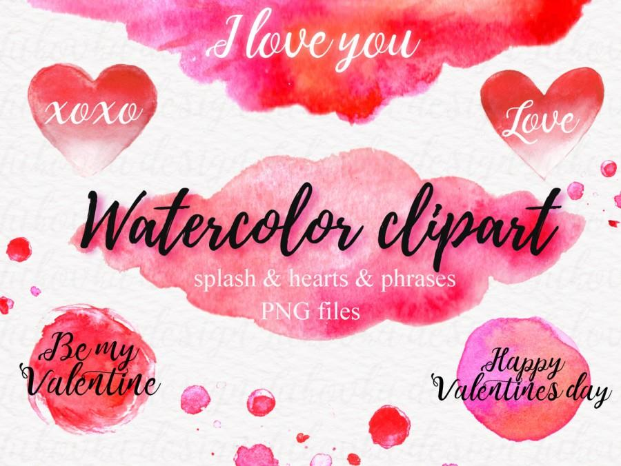 watercolor splash hearts digital watercolor valentine clipart red, Ideas
