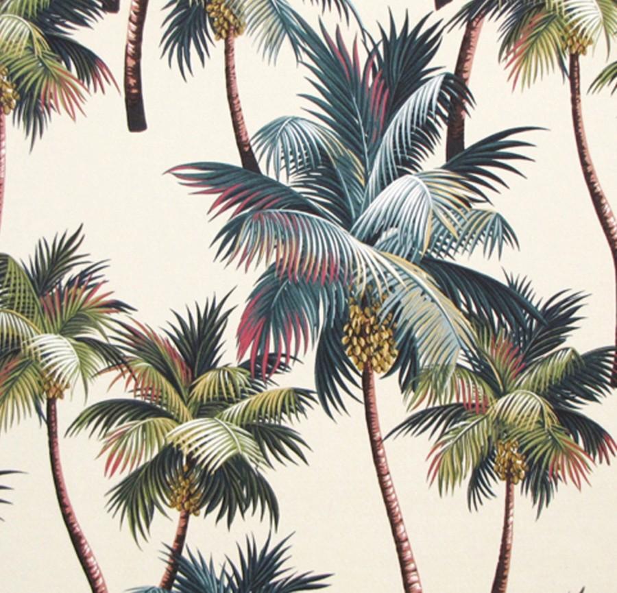 Wedding - Fabric, Tropical Upholstery, Palm Trees Hawaii, Duvet Drapery, Home Decor Cotton Bark, HCV8260/Cream, Ask for bulk