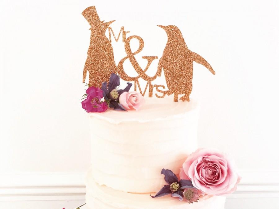 Mr and mrs penguin wedding cake topper medium size wedding cake mr and mrs penguin wedding cake topper medium size wedding cake decoration penguin themed wedding cake wedding accessories junglespirit Image collections