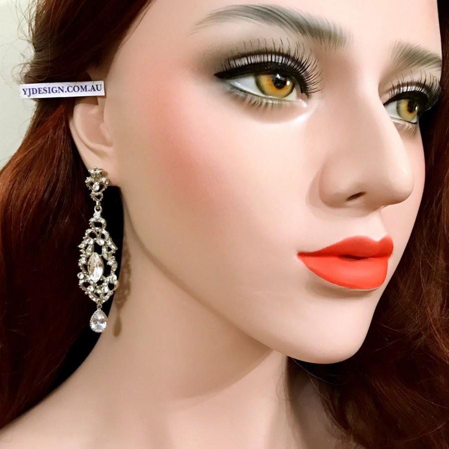 Mariage - Victorian Bridal Earrings, Long Dangle Bridal Jewelry, Crystal Wedding Jewelry, Gold Earrings, Silver Earrings, Cz Drop Earrings, VIKTORIA