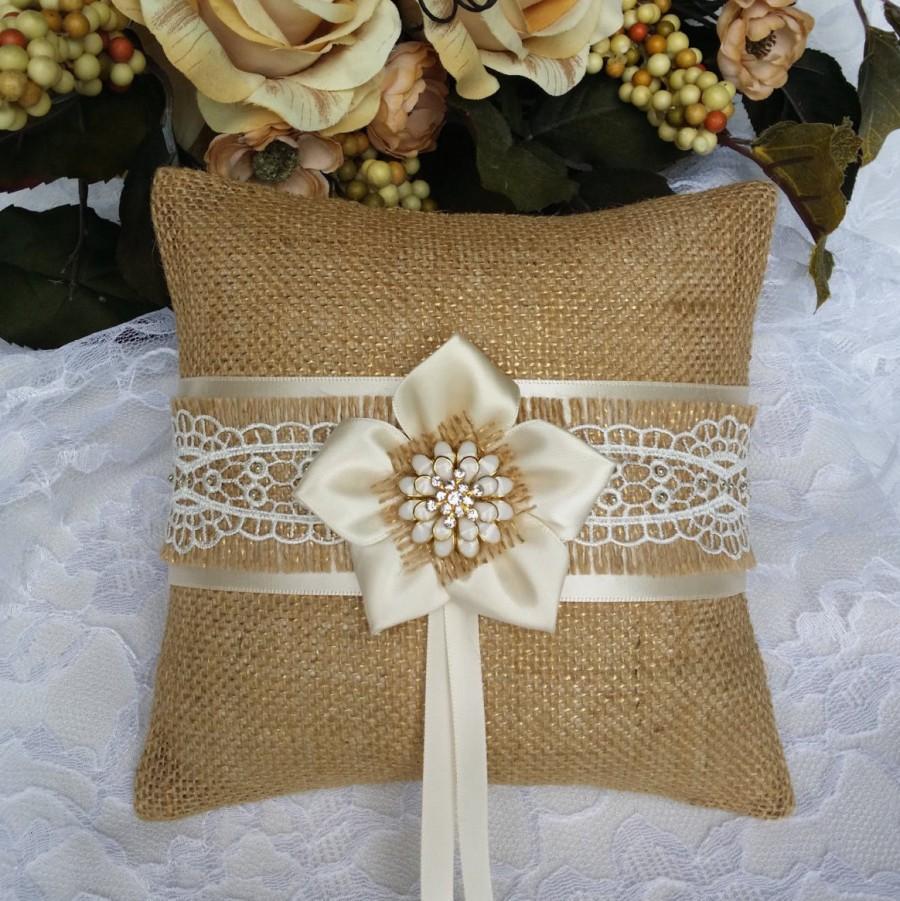 Mariage - Ring pillow - Ring bearer pillow - Burlap ring pillow - Burlap ring bearer pillow - Burlap pillow - Rustic wedding - Burlap wedding pillow