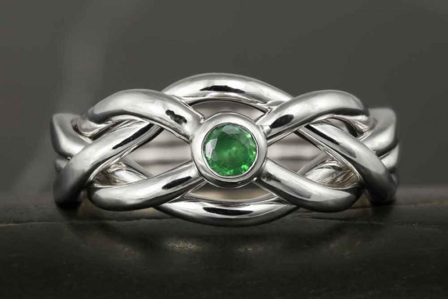 Mariage - Emerald puzzle ring in sterling silver - Infinity knot, celtic knot, wedding, engagement