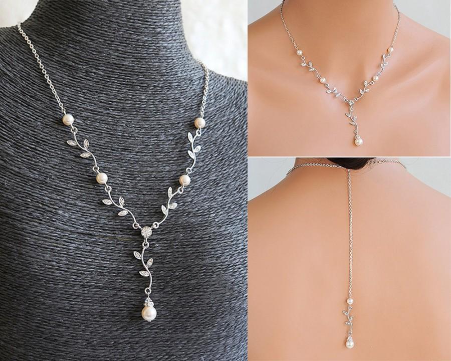 زفاف - Bridal Necklace, Vintage Style Wedding Jewelry, Crystal Leaf Bridal Necklace, Swarovski Pearl Backdrop Necklace, Back Drop Necklace, KACEY