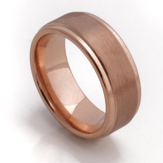 Mariage - Beautiful Rose Gold Men's Wedding Band, 8MM, Men's Ring, Tungsten Carbide Ring, Free Engraving, Comfort Fit, Sizes 8-13