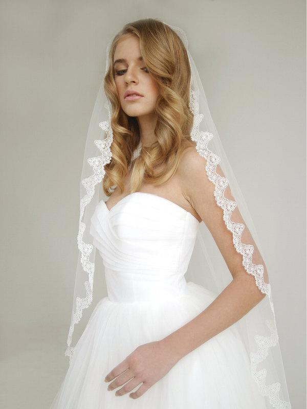 Wedding - Venice lace mantilla wedding veil, lace mantilla wedding veil, mantilla veil, floor mantilla veil, Elizabeth - Style V09