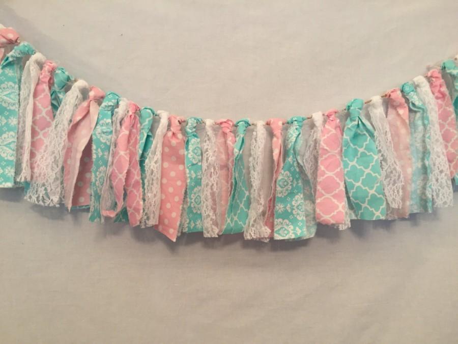 Mariage - Gender Reveal Decorations/Fabric Tie Garland/Fabric Scrap Banner/Rag Tie Bunting/Fabric Garland/Baby Shower/Bridal Shower Decor/Pink Garland