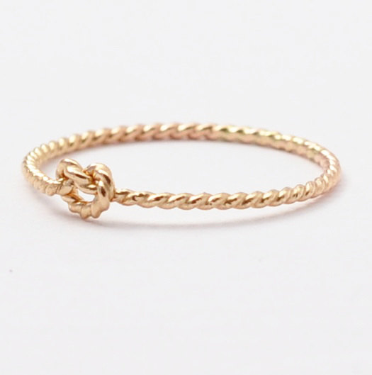 Mariage - Love Knot Ring: Solid 14K Gold Twist, Promise Rings
