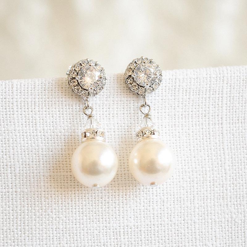 Mariage - Swarovski Pearl Wedding Earrings, Crystal Halo Bridal Earrings, Modern Vintage Style Wedding Dangle Stud Earrings, Bridal Jewelry, LUCIE