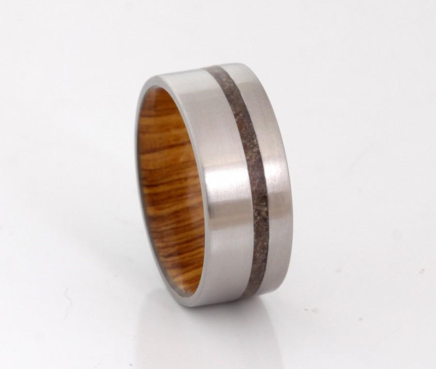 Mariage - Titanium wedding band wood ring dinosaur bone ring man jewelry woman ring flat band