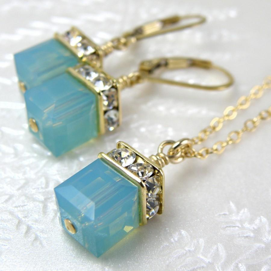 Mariage - Green Opal Swarovski Crystal Jewelry Set, Mint Cube Necklace and Earrings, Gold Filled, Bridesmaid Gift for Her, Spring Wedding