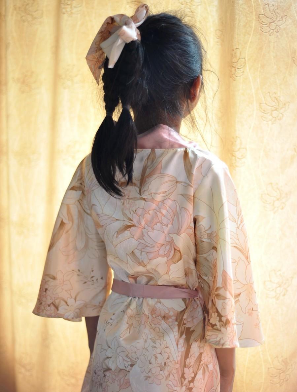 Wedding - short kimono flower girl robe, rosegold satin robe,rose gold floral,peach blush lilly, shiny satin wedding dress, flower girls wedding dress