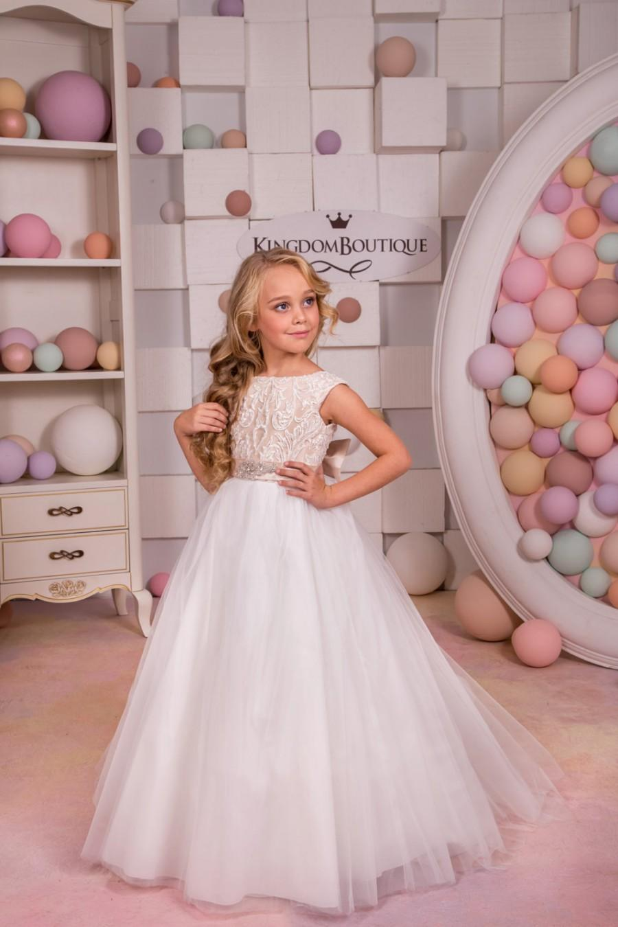 Wedding - Cappuccino and Ivory Flower Girl Dress - Holiday Bridesmaid Birthday Wedding Party Ivory and Cappuccino Flower Girl Tulle Dress