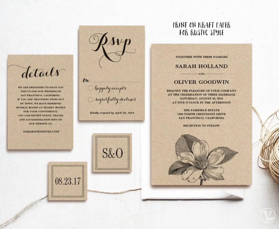 Wedding - Vintage Wedding Invitation Template, Printable Wedding Invitations, Kraft Wedding Invitation, 5-Piece Suite, Editable Text, Camelia