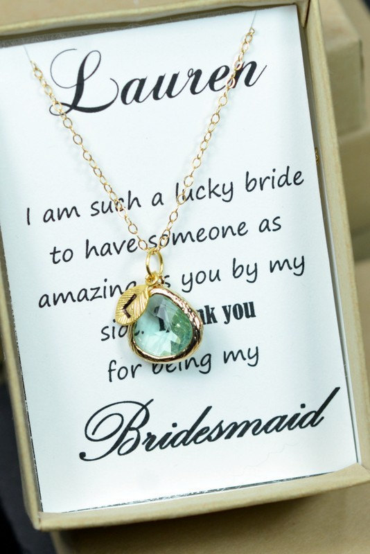 Mariage - Mint green gold ,Bridesmaids Earrings,Personalized Bridesmaids Gift,Crystal Stud Earrings,Bridesmaids Gifts,Spring Wedding,bridesmaid card