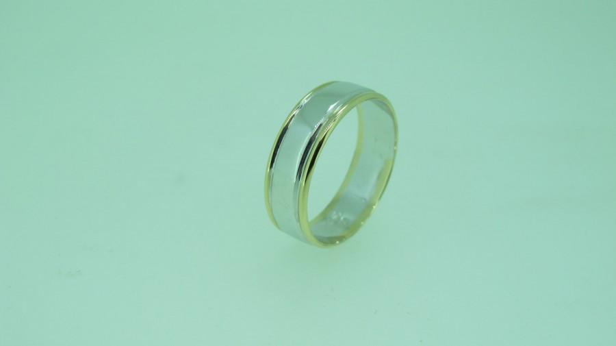 Mariage - Handmade 9ct Yellow and White Gold Dress or Wedding Ring 100% Solid Gold