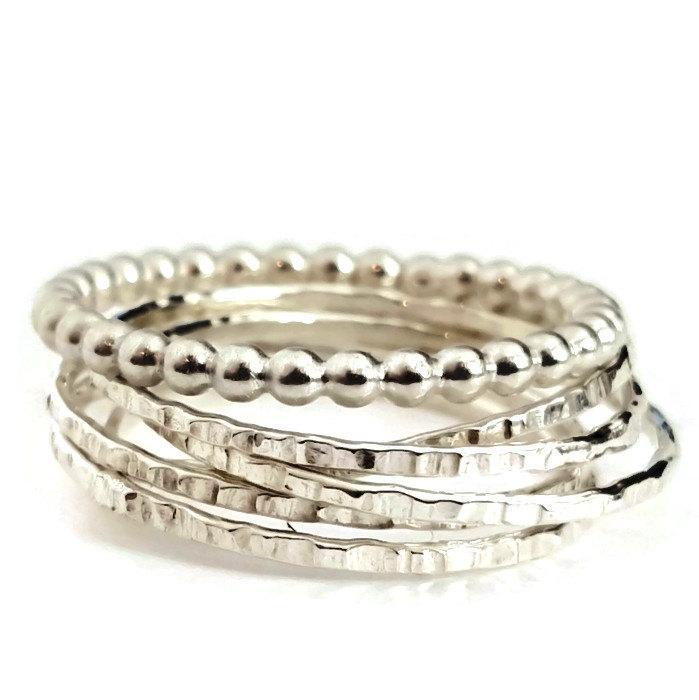 زفاف - Silver Russian Interlocking Beaded Wedding Rings