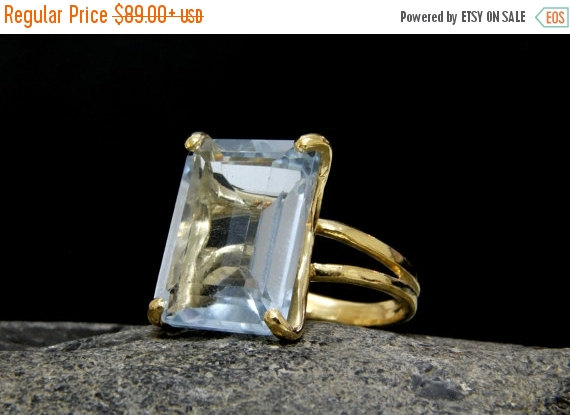 Mariage - NEW YEARS SALE - statement ring,gold ring,solid gold ring,blue topaz ring,custom metal rings,all sizes ring,rectangle ring