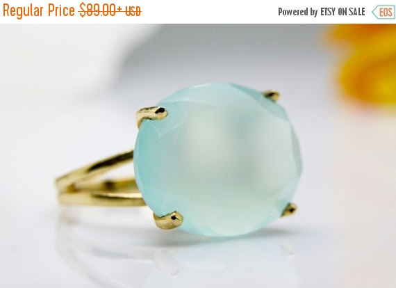 Wedding - NEW YEARS SALE - Aqua Chalcedony Ring,gold cocktail ring,gold statement ring,semi precious ring,prong setting ring