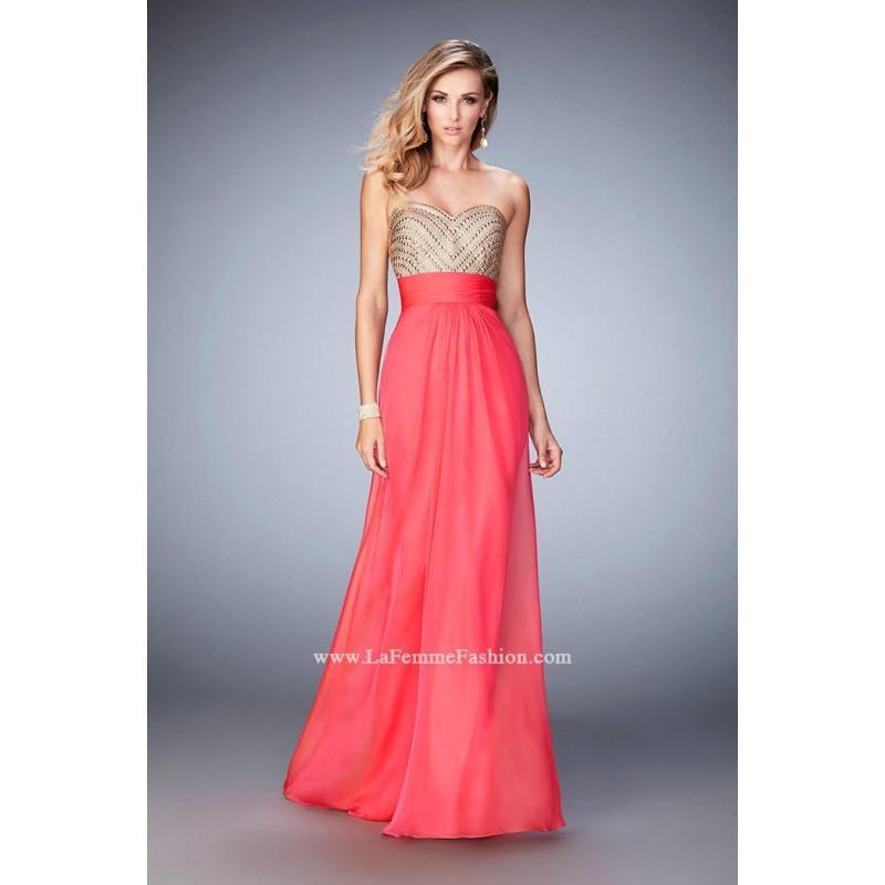 Wedding - La Femme 22359 Black,Light Watermelon,White,Wisteria Dress - The Unique Prom Store