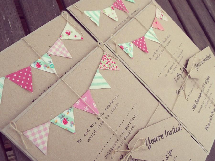 Pink And Mint Wedding Invitation - Rustic Bunting Wedding Invitation ...