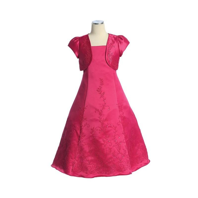 Mariage - Fuchsia Satin Beaded Dress w/ Bolero Style: D3360 - Charming Wedding Party Dresses