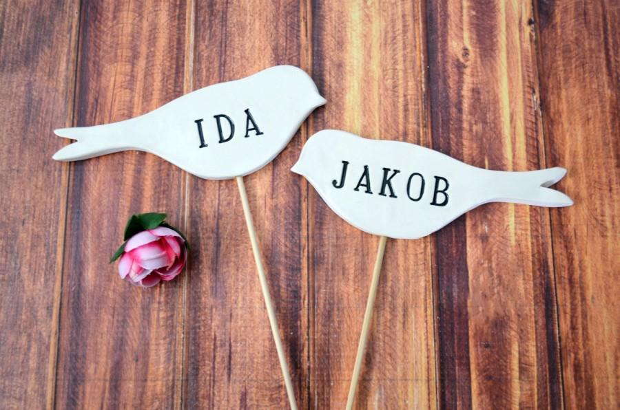 Mariage - Personalized Name Bird Wedding Cake Toppers - Available in Different Colors